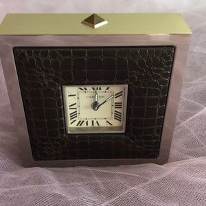 Cartier 2747 alarm clock brushed stainless steel
